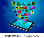 social media networking  tablet ... | Shutterstock .eps vector #406684642