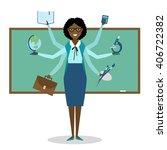 multitasking african american... | Shutterstock .eps vector #406722382