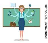 multitasking woman school... | Shutterstock .eps vector #406722388