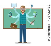 multitasking school teacher... | Shutterstock .eps vector #406722412