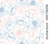 vector vintage anemone seamless ... | Shutterstock .eps vector #406728208