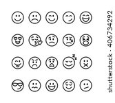 set of thin line smile... | Shutterstock . vector #406734292