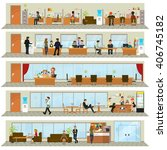 workday in an office building.  | Shutterstock . vector #406745182
