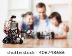 modern robot standing on the... | Shutterstock . vector #406748686