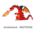 growl fire dragon. vector flat...