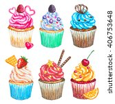 watercolor cupcakes collection. ... | Shutterstock . vector #406753648
