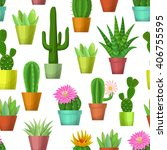 cactus and succulent seamless... | Shutterstock .eps vector #406755595