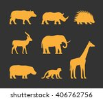 cool gold set of silhouettes... | Shutterstock . vector #406762756