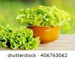 Fresh Green Lettuce Salad On...