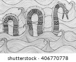 Stock vector sea monster floating on the waves of the sea drawing by hand figure style zentangle doodle 406770778