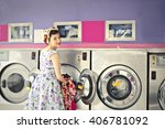 in the laundry room | Shutterstock . vector #406781092