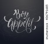 bon appetit chalk text on... | Shutterstock .eps vector #406791685