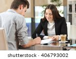 client signing a document in an ... | Shutterstock . vector #406793002