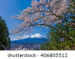 mt.fuji and cherry tree | Shutterstock . vector #406805512