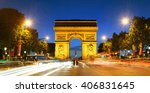 arc de triomphe and street view ... | Shutterstock . vector #406831645