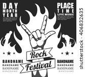 black and white rock festival... | Shutterstock .eps vector #406832635