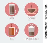 hot drinks glasses round icon... | Shutterstock .eps vector #406832785