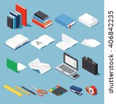 isometric office tools  ... | Shutterstock .eps vector #406842235
