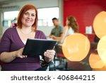 confident female designer... | Shutterstock . vector #406844215