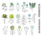vector floral decorative set.... | Shutterstock .eps vector #406860226