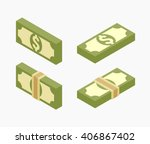 set of the isometric bundles of ... | Shutterstock .eps vector #406867402