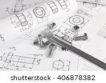 caliper  bolts and nuts on a... | Shutterstock . vector #406878382