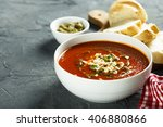 tomato soup with cheese and... | Shutterstock . vector #406880866