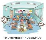 cartoon illustration of a messy ... | Shutterstock .eps vector #406882408