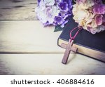 the wooden cross and black... | Shutterstock . vector #406884616