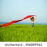 young lady runing with tissue... | Shutterstock . vector #406889962