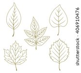 collection of line green leaves....   Shutterstock .eps vector #406910476