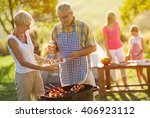 grandfather serving food from... | Shutterstock . vector #406923112