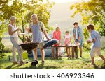happy family camping and... | Shutterstock . vector #406923346