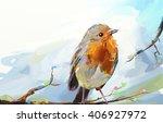 Bird. Digital Painting  In Oil...