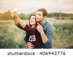 selfie. love story. man and a... | Shutterstock . vector #406943776