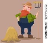 funny farmer character.... | Shutterstock .eps vector #406948912