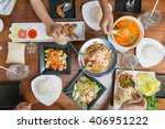 top view of people eating thai... | Shutterstock . vector #406951222