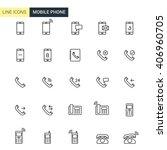 vector set mobile phone line... | Shutterstock .eps vector #406960705