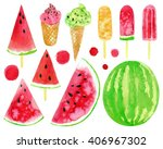 Watercolor Set With Watermelon...