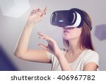Woman in vr headset looking up...