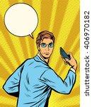 businessman narcissus retro pop ... | Shutterstock .eps vector #406970182