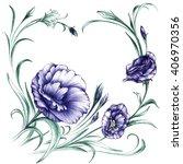 hand drawn illustration eustoma ... | Shutterstock . vector #406970356