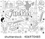 india coloring book line art... | Shutterstock . vector #406970485