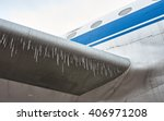 Ice On The Wing Of An Airplane