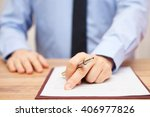 businessman is showing client...   Shutterstock . vector #406977826