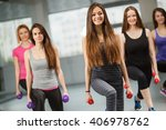 group of fit people at the gym... | Shutterstock . vector #406978762
