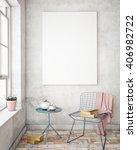mock up poster frames in... | Shutterstock . vector #406982722