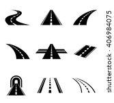 vector black car road icons set.... | Shutterstock .eps vector #406984075
