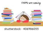 tired schoolgirl sleeping under ... | Shutterstock .eps vector #406986055