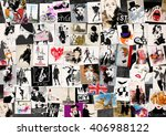 fashion collage with freehand... | Shutterstock . vector #406988122